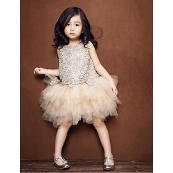 Flower Girl Dress Knee Length Tulle Sleeveless Dress