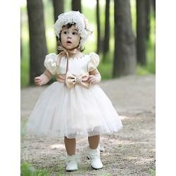 Flower Girl Dress Knee-length Tulle Ball Gown Short Sleeve Dress(not include cap)
