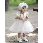 Flower Girl Dress Knee-length Tulle Ball Gown Short Sleeve Dress(not include cap) Flower Girl Dresses