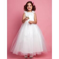 A-line/Princess Ankle-length Flower Girl Dress - Tulle/Satin Sleeveless