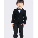 Black Polester/Cotton Blend Ring Bearer Suit - 4 Pieces Flower Girl Dresses