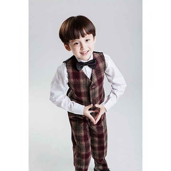 Brown Polyester Ring Bearer Suit - 4 Pieces Flower Girl Dresses