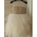 Ball Gown Knee-length Flower Girl Dress - Tulle/Sequined Sleeveless Flower Girl Dresses