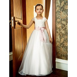 Formal Evening Wedding Party Vacation Dress White A Line Square Ankle Length Organza