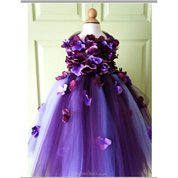 A-line Knee-length Flower Girl Dress - Tulle Sleeveless Flower Girl Dresses