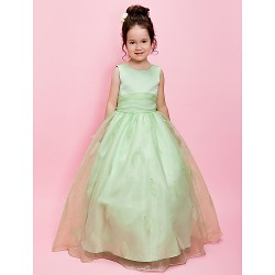 Ball Gown A Line Floor Length Flower Girl Dress Organza Satin Sleeveless
