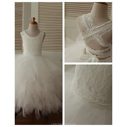 Princess Ankle Length Flower Girl Dress Lace Tulle Sleeveless