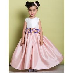 A Line Floor Length Flower Girl Dress Taffeta Sleeveless