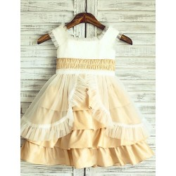 Princess Champagne Knee Length Flower Girl Dress Taffeta Cap Sleeve