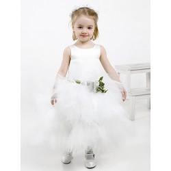 Ball Gown Ankle-length Flower Girl Dress - Satin/Tulle Sleeveless