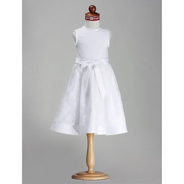 A-line/Princess Knee-length Flower Girl Dress - Satin Sleeveless Flower Girl Dresses