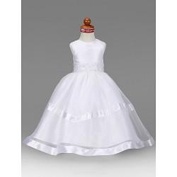 A Line Princess Floor Length Flower Girl Dress Organza Taffeta Sleeveless