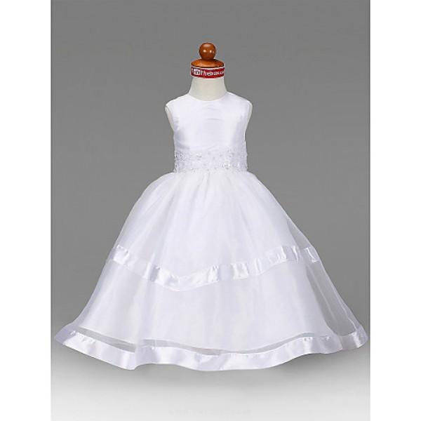 A-line/Princess Floor-length Flower Girl Dress - Organza/Taffeta Sleeveless Flower Girl Dresses