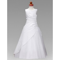 A Line Princess Floor Length Flower Girl Dress Satin Tulle Sleeveless