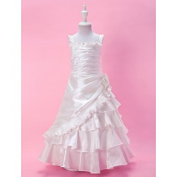 A Line Princess Floor Length Flower Girl Dress Taffeta Sleeveless