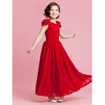 Wedding Party Dress - Burgundy Apple / Hourglass / Inverted Triangle / Pear / Rectangle / Petite A-line / Princess Jewel Ankle-length Flower Girl Dresses