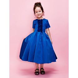 Ball Gown A Line Tea Length Flower Girl Dress Satin Short Sleeve