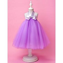 A Line Ball Gown Knee Length Flower Girl Dress Tulle Sleeveless