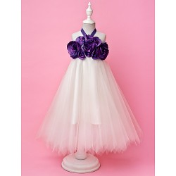 A Line Princess Floor Length Flower Girl Dress Tulle Taffeta Sleeveless