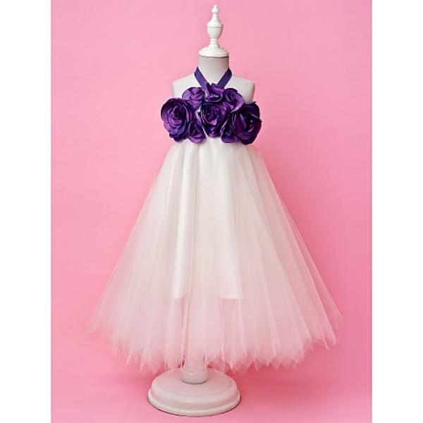 A-line/Princess Floor-length Flower Girl Dress - Tulle/Taffeta Sleeveless Flower Girl Dresses
