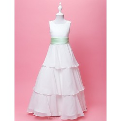 A Line Princess Floor Length Flower Girl Dress Chiffon Satin Sleeveless