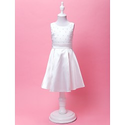 A-line/Princess Knee-length Flower Girl Dress - Satin Sleeveless