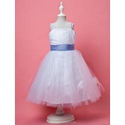 A-line/Princess Knee-length Flower Girl Dress - Tulle Sleeveless