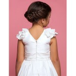 A-line/Princess Tea-length Flower Girl Dress - Taffeta Sleeveless Flower Girl Dresses