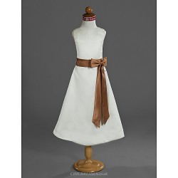 A-line/Princess Tea-length Flower Girl Dress - Satin Sleeveless