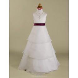 A Line Princess Floor Length Flower Girl Dress Satin Organza Sleeveless