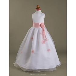 A Line Princess Floor Length Flower Girl Dress Satin Organza Sleeveless