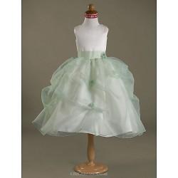 Ball Gown Tea Length Flower Girl Dress Satin Organza Sleeveless