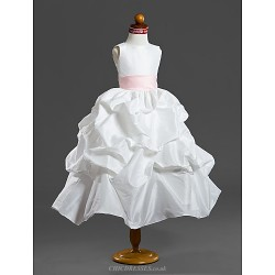 Ball Gown Tea-length Flower Girl Dress - Taffeta Sleeveless