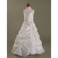 A Line Princess Floor Length Flower Girl Dress Organza Taffeta Sleeveless