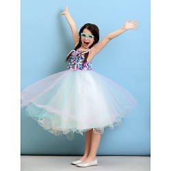 Knee Length Tulle Junior Bridesmaid Dress Multi Color Ball Gown Halter