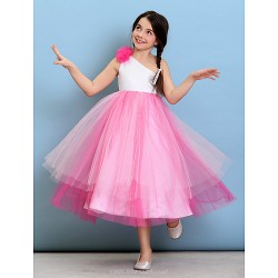 Tea Length Tulle Junior Bridesmaid Dress Fuchsia Ball Gown One Shoulder