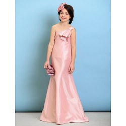 Floor-length Taffeta Junior Bridesmaid Dress - Blushing Pink A-line One Shoulder