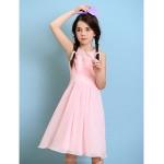 Knee-length Chiffon Junior Bridesmaid Dress - Blushing Pink A-line Jewel Junior Bridesmaid Dresses
