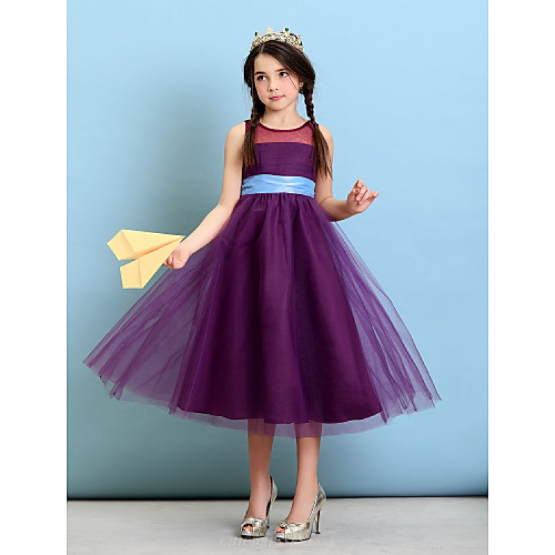 Tea-length Tulle Junior Bridesmaid Dress - Grape A-line / Princess ...