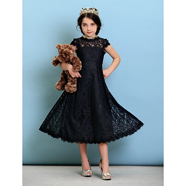 Tea-length Lace Junior Bridesmaid Dress - Black A-line / Princess Jewel Junior Bridesmaid Dresses