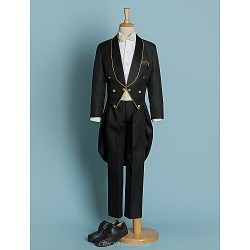 Black/Ivory Polyester Ring Bearer Suit - 5 Pieces