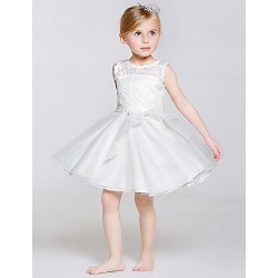 A-line Knee-length Flower Girl Dress - Lace/Tulle/Polyester Sleeveless