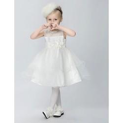 A Line Knee Length Flower Girl Dress Tulle Polyester Sleeveless