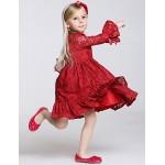 A-line Knee-length Flower Girl Dress - Lace/Polyester Long Sleeve Flower Girl Dresses
