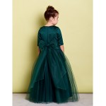 A-line Floor-length Flower Girl Dress - Tulle Half Sleeve Flower Girl Dresses