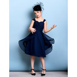 Knee Length Chiffon Junior Bridesmaid Dress Dark Navy A Line Straps