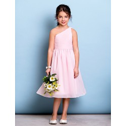 Knee-length Chiffon Junior Bridesmaid Dress - Blushing Pink A-line One Shoulder