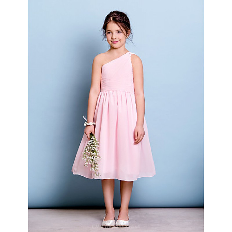 Knee-length Chiffon Junior Bridesmaid Dress - Blushing Pink A-line ...