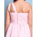 Knee-length Chiffon Junior Bridesmaid Dress - Blushing Pink A-line One Shoulder Junior Bridesmaid Dresses