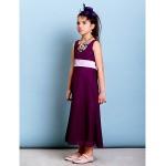 Ankle-length Chiffon Junior Bridesmaid Dress - Grape Sheath/Column Scoop Junior Bridesmaid Dresses